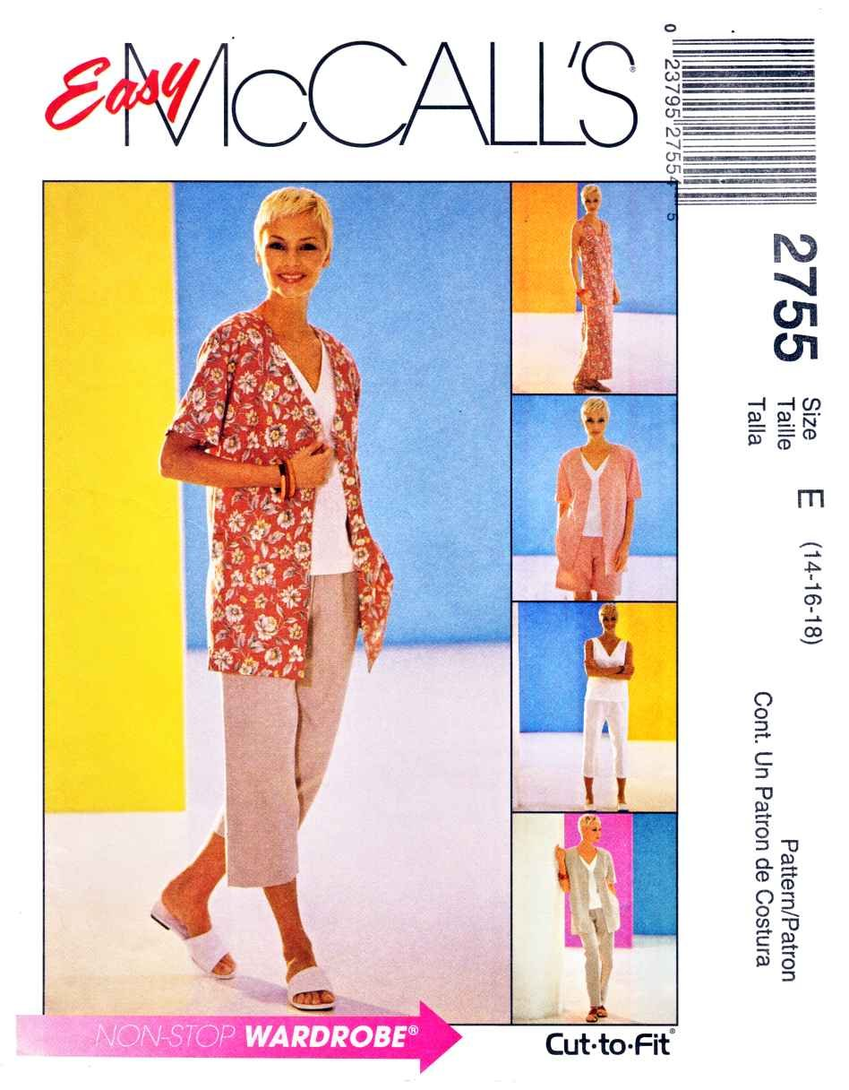 McCall's Sewing Pattern 2755 Misses Size 12-16  Easy Wardrobe Jacket Dress Cropped Pants Top Shorts