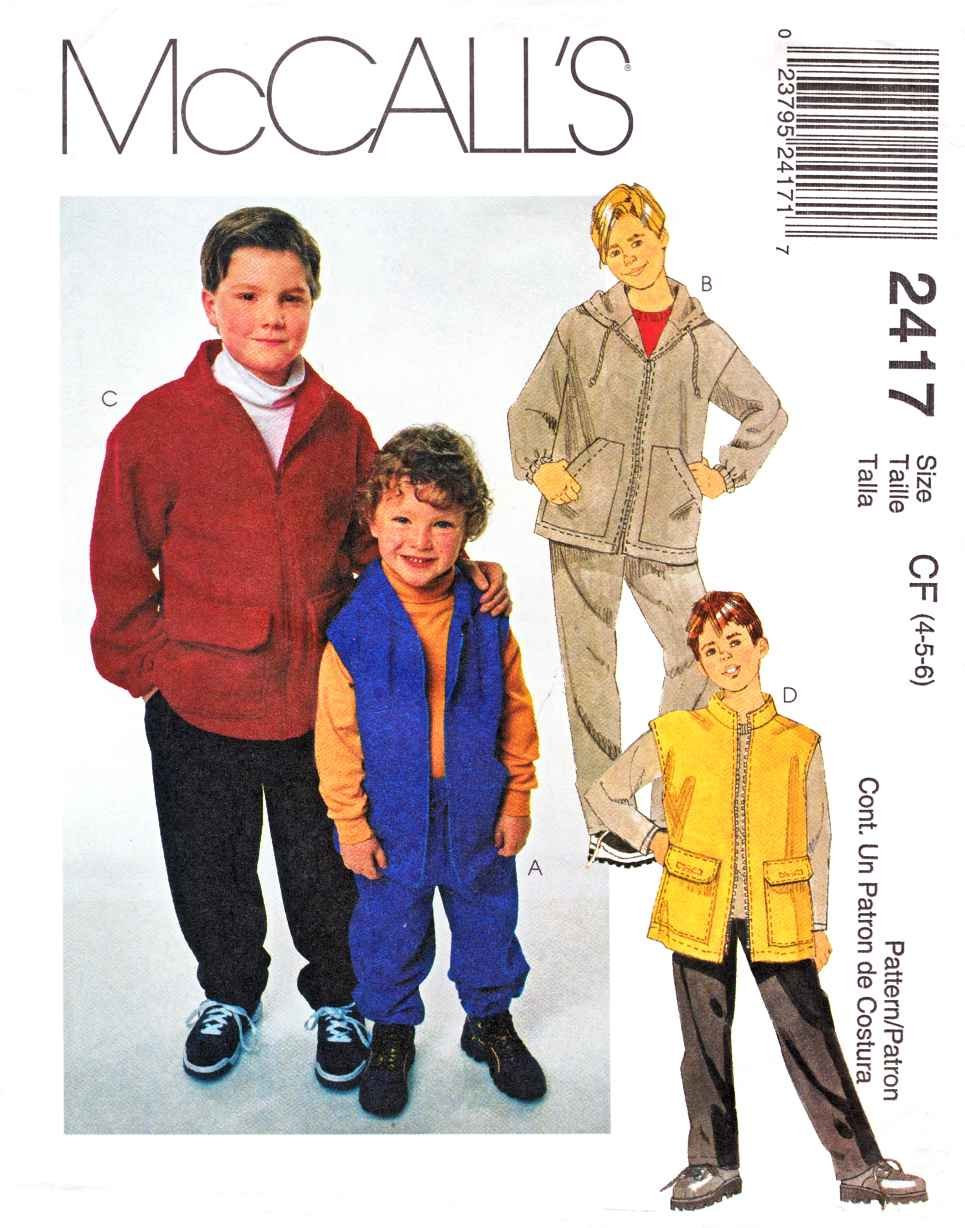 McCall's Sewing Pattern 2417 M2417 Boys Size 4-6 Unlined Zipper Front Hooded Jacket Vest Pants