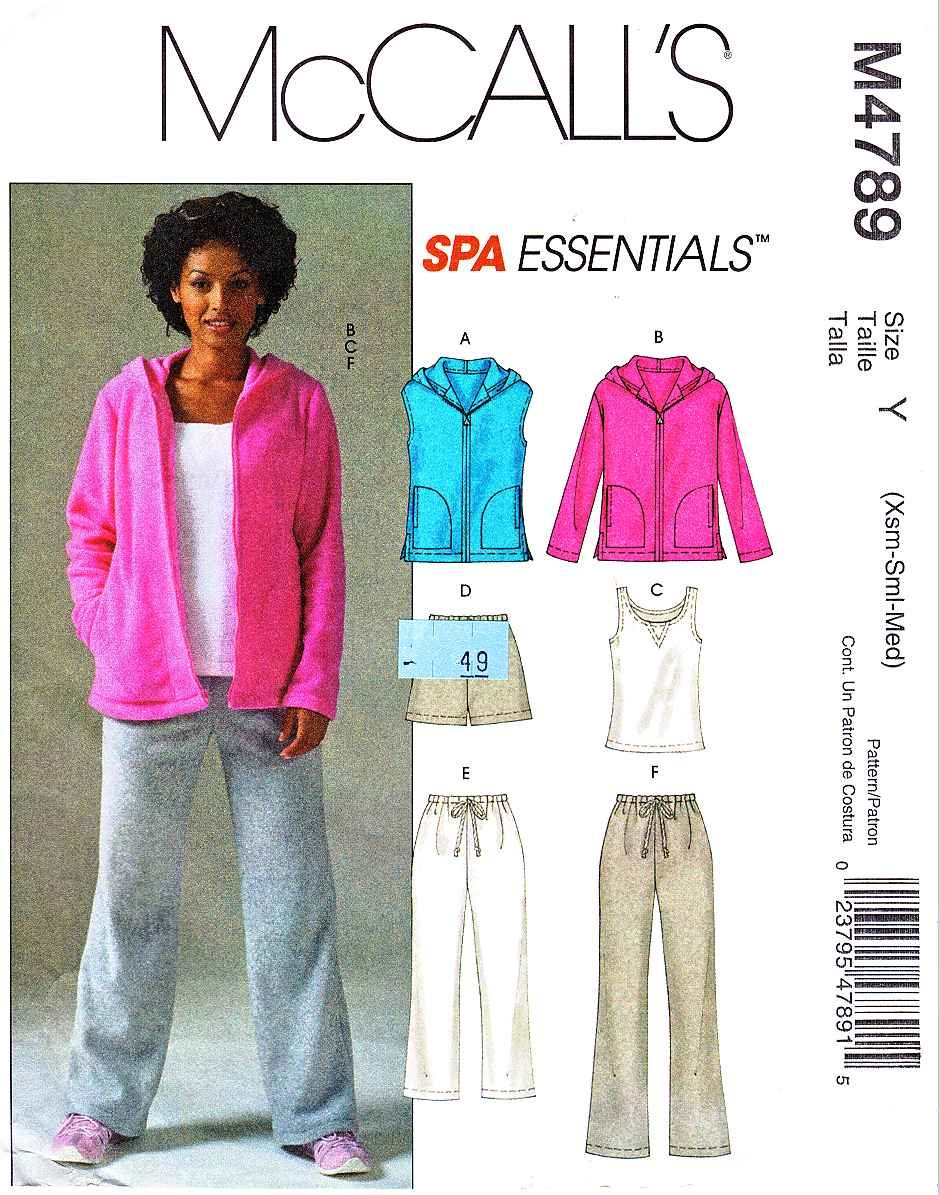 McCall's Sewing Pattern 4789 Misses Size 4-14 Workout Wardrobe Knit Vest Jacket Top Pants Shorts