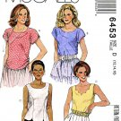McCall's Sewing Pattern 6453 Misses Size 12-16 Pullover Sleeveless Short Sleeve Tops