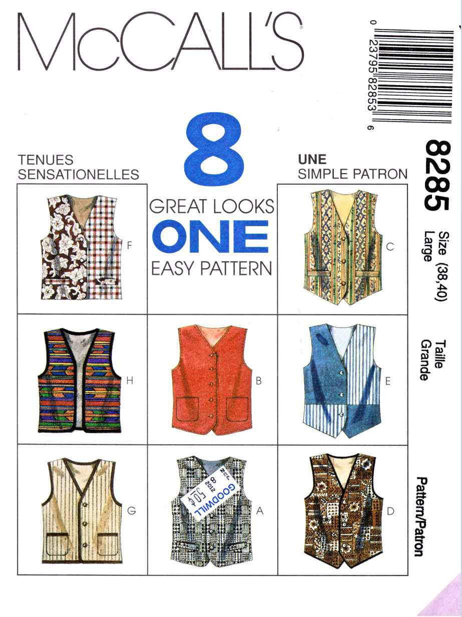 """McCall's Sewing Pattern 8285 Mens Misses Chest Size 31½-32½"""" Unisex Button Front Lined Vests"""