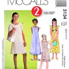 McCall's Sewing Pattern M3134 3134 Girls Size 7-10 2-Hour Pullover Sleeveless A-Line Summer Dress