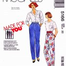 McCall's Sewing Pattern 5166 Misses Size 12 Classic Casual Pull On Long Elastic Waist Pants