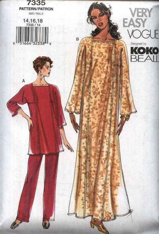 Vogue Sewing Pattern 7335 Misses Size 8-12 Easy Caftan Kaftan Pullover Top  Pants