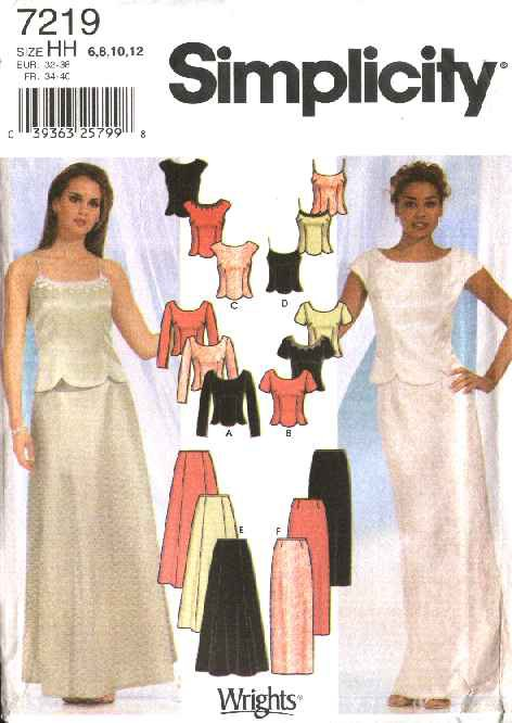 Simplicity Sewing Pattern 7219 Misses Size 6 12 Formal