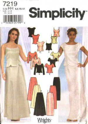 Simplicity Sewing Pattern 7219 Misses Size 6-12 Formal Prom Skirt Top Two Piece Evening Gown