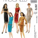 McCall's Sewing Pattern 2972 Misses Size 8-12 Straight Dress Skirt Top Sleeve Options Sheath