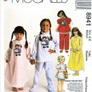 McCall's Sewing Pattern 8941 Girls Size 6-8 Easy Raggedy Ann Andy Pajamas Pullover Nightgown