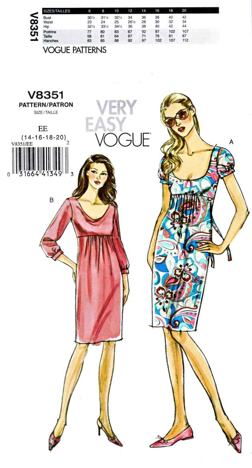 Vogue Sewing Pattern 8351 V8351 Misses Size 14-20 Easy Raised Empire Waist Straight Knit Dress