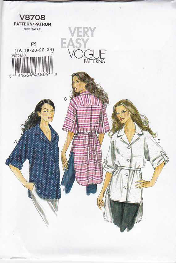 Vogue Sewing Pattern 8708 Misses Size 16-24 Easy Button Front Shirt Sleeve Length Options