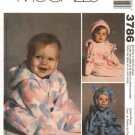 McCall's Sewing Pattern 3786 Baby Infant Size 13-24# Fleece Bunting Hat
