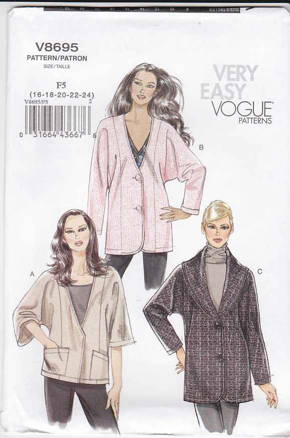 Vogue Sewing Pattern 8695 Misses Size 8-14 Easy Button Front Lined Jacket Collar Sleeve Options