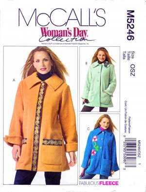 McCall�s Sewing Pattern 5246 M5246 Misses Size 4-22 Button Front Fleece Jackets Flower Pin
