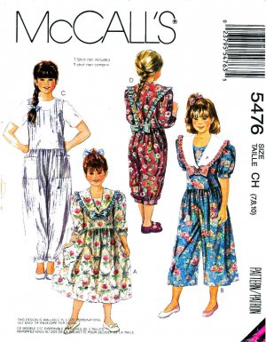 McCall�s Sewing Pattern 5476 Girls� Size 7-10 Dress Jumpsuit Detachable Collars