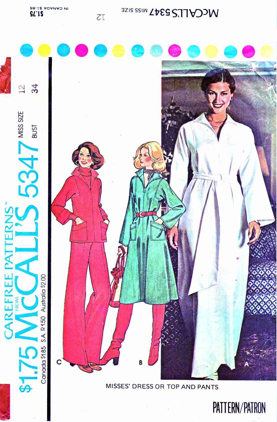 Retro McCall�s Sewing Pattern 5347 Misses� Size 12 Pullover Dress Top Bell Bottom Pants