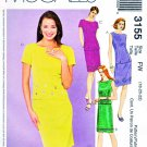 McCall's Sewing Pattern 3155 Misses' Size 18-22 Two-Piece Dress Top Straight Skirt