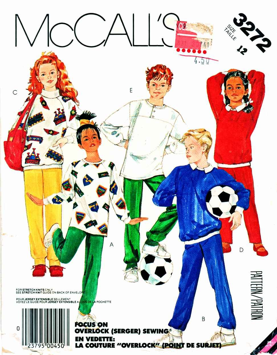 McCall�s Sewing Pattern 3272 Boys� Girls� Size 7 Knit Pullover Sweatshirt Tops Pants