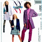 McCall's Sewing Pattern 3321 Junior's Size 1/2-7/8 NYNY Lined Coat Unlined Jacket Pants Skirt