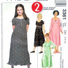 McCall's Sewing Pattern 3361 Girls' Size 12-16 Raised Empire Waist Dress Sleeve Options