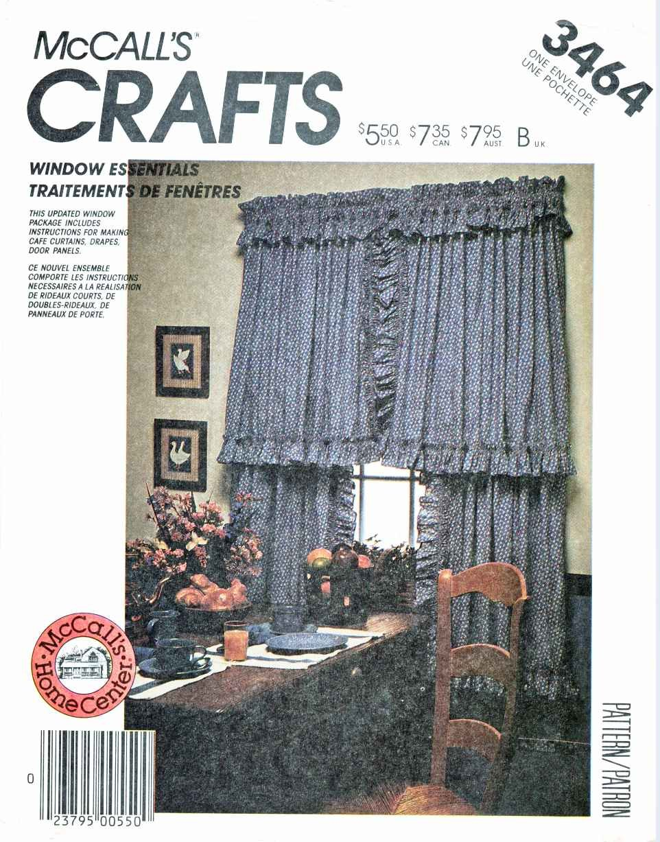 McCall�s Sewing Pattern M3464 3464 885 Window Essentials Curtains Drapes Valances Panels