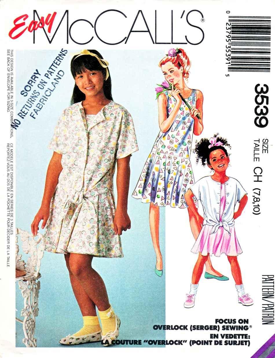 McCall�s Sewing Pattern 3539 Girls� Size 7-10 Easy Shirt Dropped Waist Sleeveless Dress