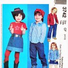 McCalls Sewing Pattern 3742 M3742 Girls Size 2-4 Shirts Knit Top Pants Skirt Cowgirl Wardrobe