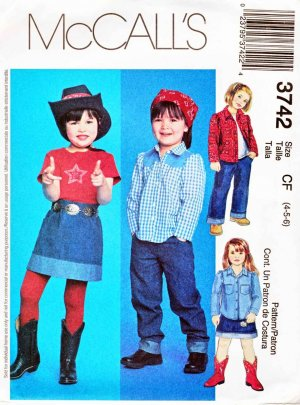 McCall�s Sewing Pattern 3742 M3742 Girls Size 4-6 Shirts Knit Top Pants Skirt Cowgirl Wardrobe