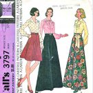 McCall's Sewing Pattern 3797 Misses' Size 10 Button Front Long Sleeve Blouses Flared Skirts