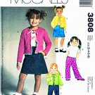 McCalls Sewing Pattern 3808 Girls Size 3-6 Knit Long Sleeve Cardigan Pants Skirt