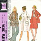 Retro McCall's Sewing Pattern 3836 Misses' Size 18 Button Front Lined Swing Coat Jacket