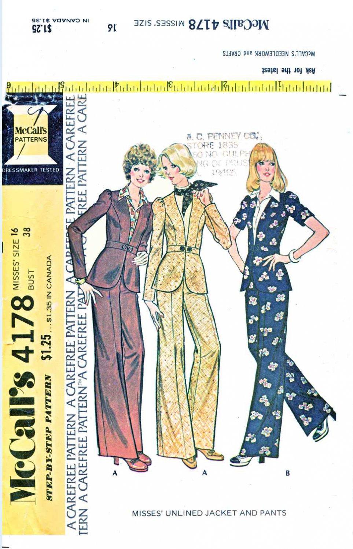 McCalls Sewing Pattern 4178 Misses Size 16 Unlined Peplum Jacket Pants Pantsuit
