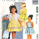 McCalls Sewing Pattern 4206 M4206 Girls Size 2-3-4 Lined Jacket Bolero Sundress Sleeveless Dress