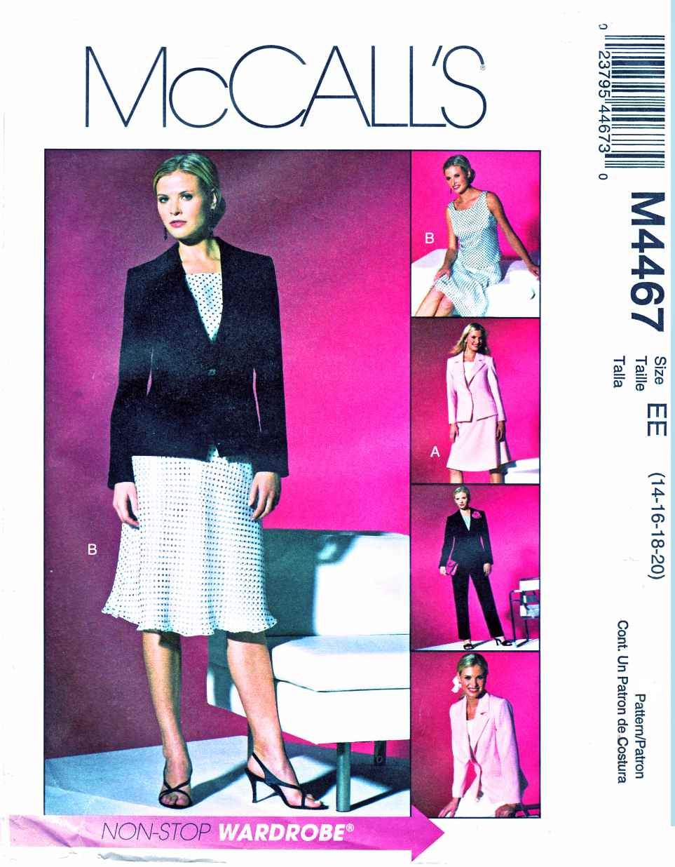 McCalls Sewing Pattern 4467 Misses Size 14-20 Wardrobe Lined Jacket Top Bias Skirt Pants