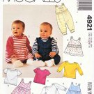 "McCalls Sewing Pattern 4921 Infants Size up tp 32# 36"" Knit Jumpers Jumpsuit Romper Tops"