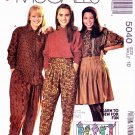 McCalls Sewing Pattern 5040 Misses Size 10 Easy Front Button Blouse Gathered Skirt Pants