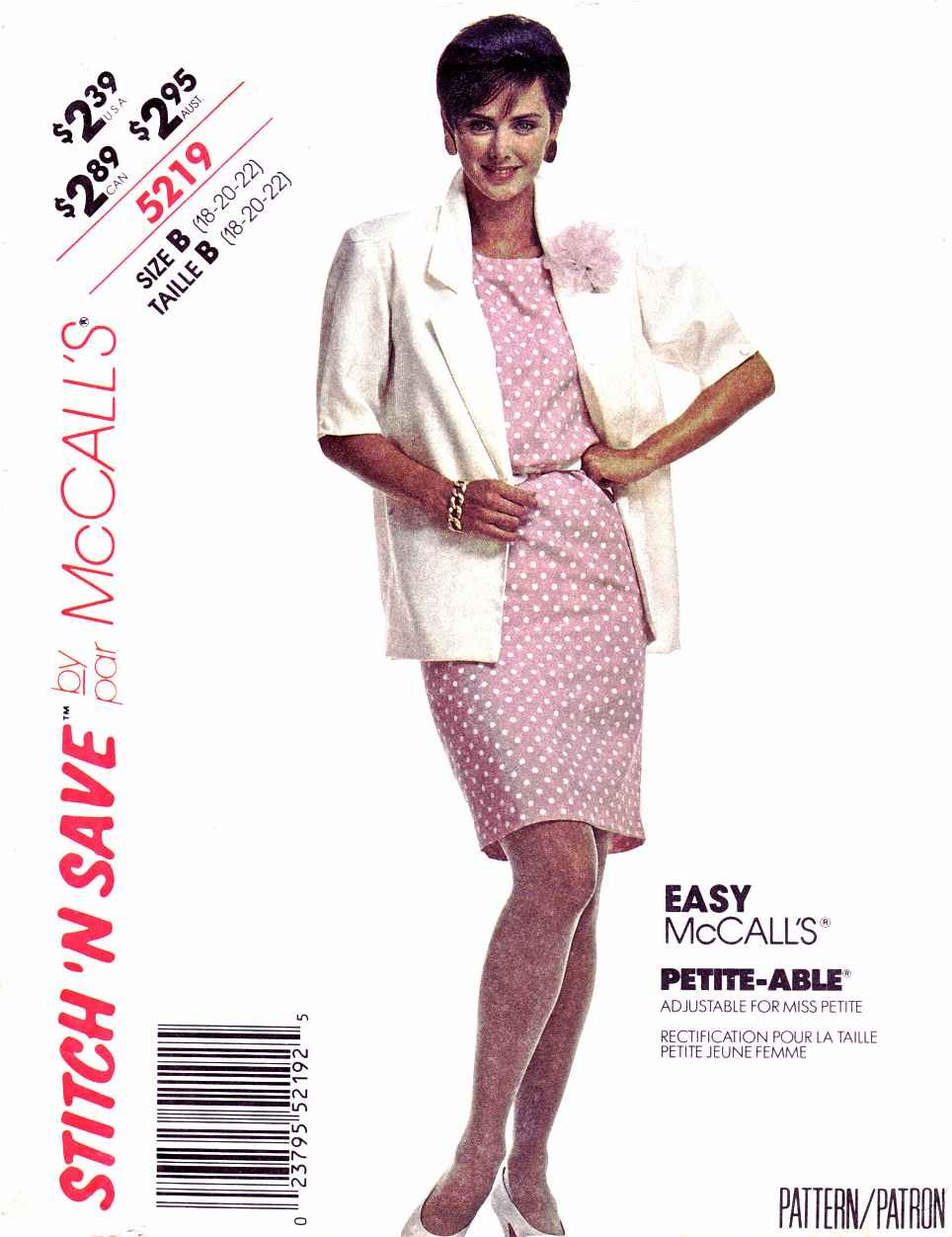 McCalls Sewing Pattern 5219 Misses Size 18-22 Unlined Short Slvve Jacket Straight Dress