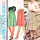 McCalls Sewing Pattern 5230 Misses Size 10 A-Line Pleated Gathered Wrap Skirts