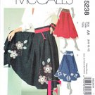 McCalls Sewing Pattern 5238 Misses Size 6-12 Flared Yoked Appliqued Trimmed Skirts