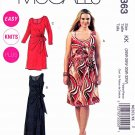 McCalls Sewing Pattern 6363 Womans Plus Size 26W-32W Easy Pullover Long Short Knit Dress