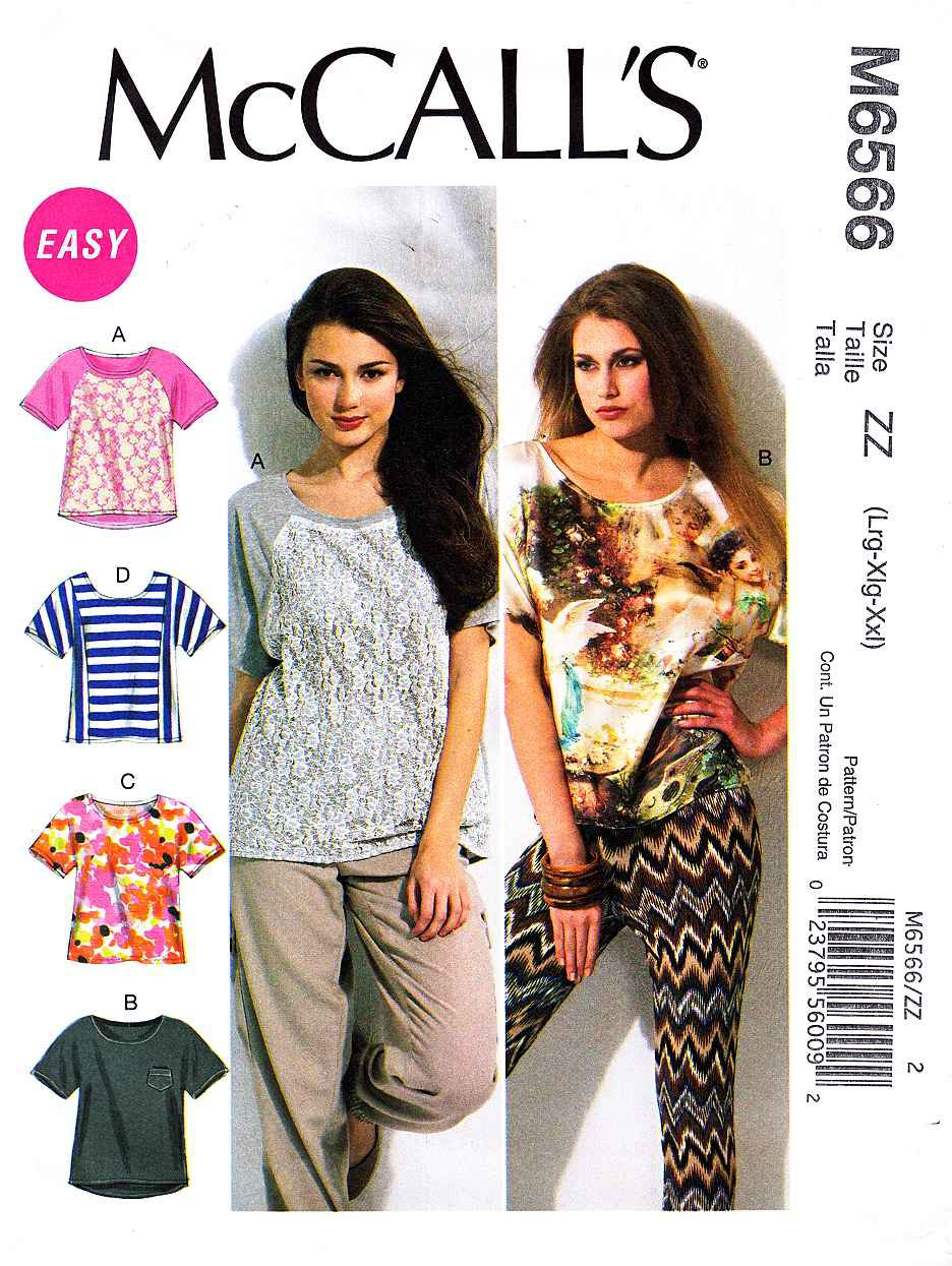 McCalls Sewing Pattern 6566 Misses Size 16-26 Easy Pullover Short Sleeve Knit Tops