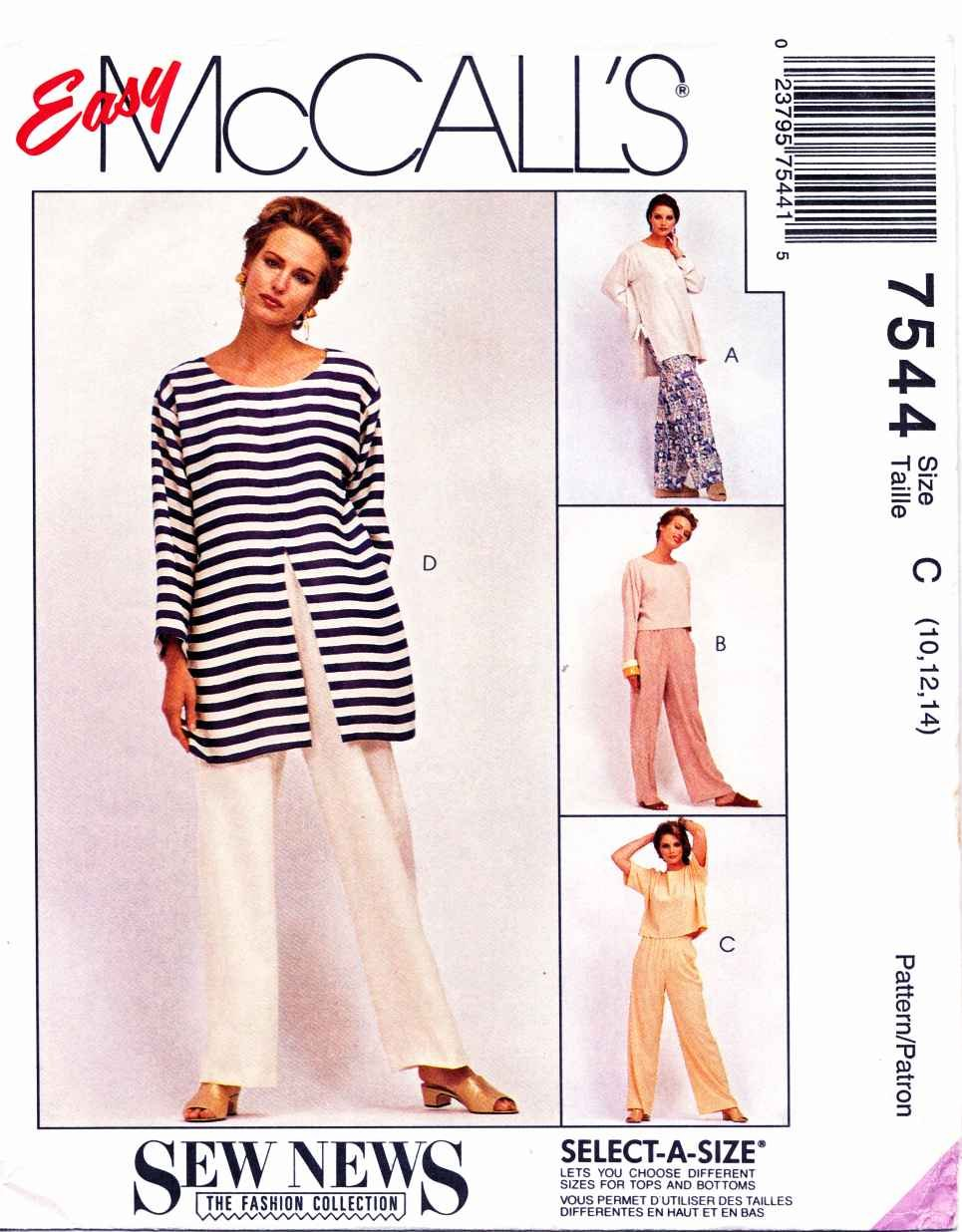 McCalls Sewing Pattern 7544 M7544 Misses Size 12-16 Easy Sew News Wardrobe Tunic Top Pants