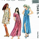 McCalls Sewing Pattern 7545 Misses Size 12 Button Front Dress Two Lengths Sleeve Options