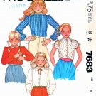McCalls Sewing Pattern 7683 Girls Size 8 Classic Button Front Blouses Sleeve Collar Options