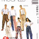 "McCalls Sewing Pattern 7684 Mens Misses Unisex Size 40-46"" Pull-on Long Pants Elastic Waistline"