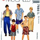McCalls Sewing Pattern 7685 Boys Size 10-14 Easy Classic Wardrobe Shirt Top Pants Shorts