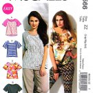 McCalls Sewing Pattern 6566 Misses Size 4-14 Easy Pullover Short Sleeve Knit Tops