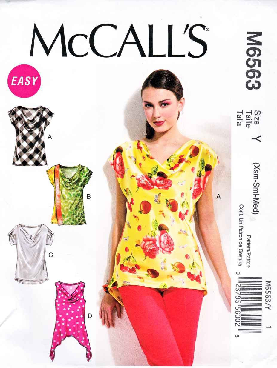 Mccalls sewing pattern 6563 m6563 misses size 4 14 easy pullover mccalls sewing pattern 6563 m6563 misses size 4 14 easy pullover cowl neck cap sleeve top jeuxipadfo Image collections