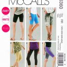 McCalls Sewing Pattern 6360 M6360 Womans Plus Size 18W-24W Easy Knit Leggings Shorts Four Lengths