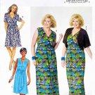 Butterick Sewing Pattern 5764 Women's Plus Size 26W-32W Mock Wrap Dress Knit Shrug