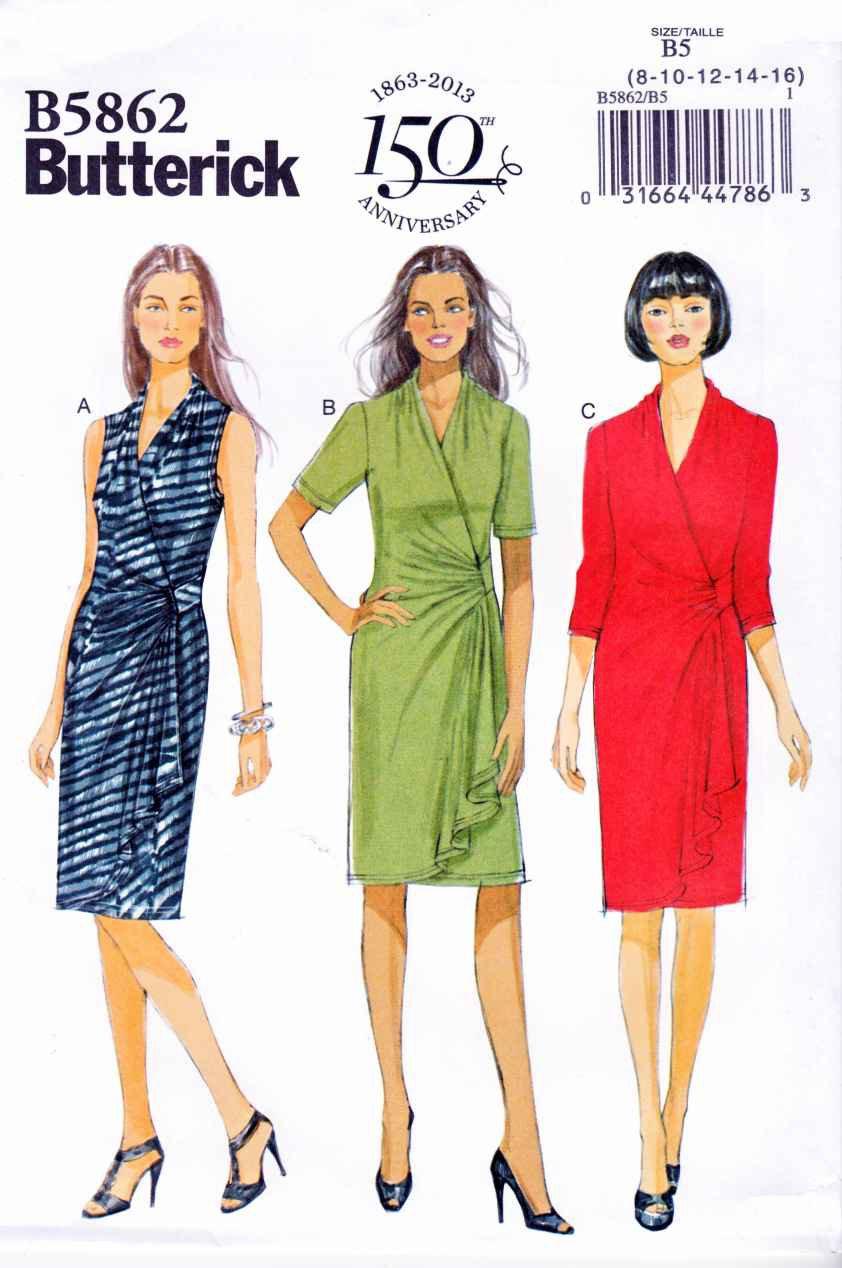 Butterick Sewing Pattern 5862 B5862 Womens Plus Size 18W-24W Pullover Knit Mock Front Wrap Dress